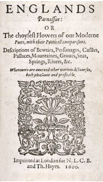 Robert Allott - The title page of Allott's anthology England's Parnassus