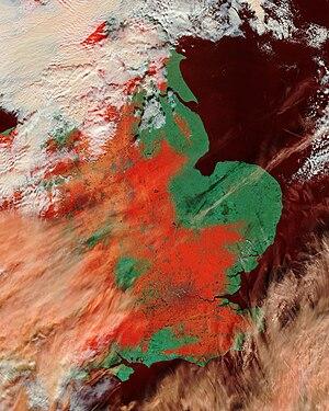 February 2009 Great Britain and Ireland snowfall - Image: England 2009 snowfall false colour image