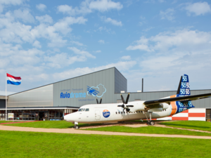Aviodrome - The entrance to the museum is flanked by the second prototype of the Fokker 50.