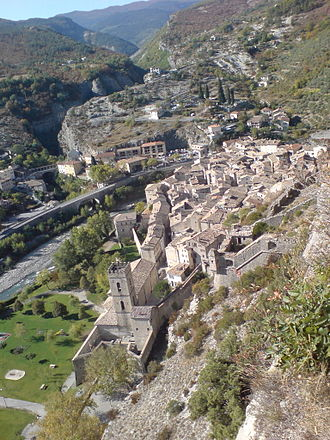 Entrevaux Cathedral - View of Entrevaux, with the cathedral in the foreground