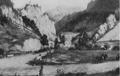 Eröffnung der neuen Semmeringstraße im Jahr 1842. Aquarell von Leander Ruß.png