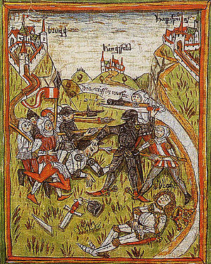 John Parricida - Assassination of King Albert I, Austrian Chronicle of 95 Seigneurs, 14th century