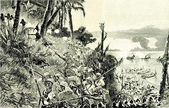 German West Africa - The storming of Belltown by a landing party from SMS Olga, December 1884 (depiction by Carl Saltzmann, 1885)