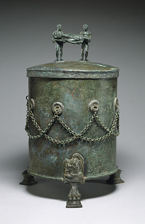 Cista - Image: Etruscan Cista Depicting a Dionysian Revel and Perseus with Medusa's Head Walters 54136