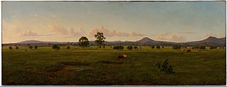 Bushy Park, Victoria - Image: Eugene VON GUÉRard View of the Gippsland Alps, from Bushy Park on the River Avon Google Art Project (716240)