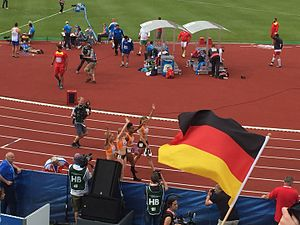 2016 European Athletics Championships – Women's 4 × 100 metres relay - Dutch team celebrating their victory