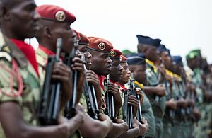 Armed Forces of Gabon - Military members from the Gabonese Armed Forces stand in formation during the opening day ceremony for the June 2016 Central Accord Exercise in Libreville, Gabon