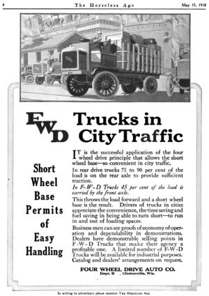 Four Wheel Drive - Four Wheel Drive Auto Company 1918 ad in The Horseless Age.