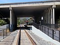 Facing south at Marin Civic Center station, August 2018.JPG