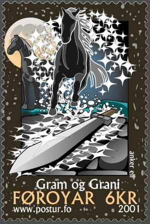 Grani - Grani and the sword Gram, 2001 Faroese stamp