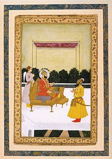 A seated Farrukhsiyar, with an attendant behind him, receives Hussain Ali Khan