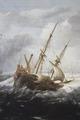 Fartyg i storm vid klippig kust. Detalj av - Hallwylska museet - 86677.tif