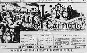 Marmifera - Front page of L'eco del Carrione (1890) announcing the inauguration of the entire line