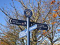 Fingerpost signs on Simonsway, Wythenshawe.jpg