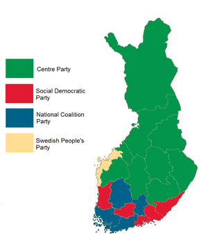 Finnish parliamentary election results by province, 1999.png
