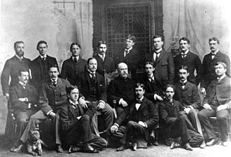 Eugene Lindsay Opie - The first medical school graduating class of Johns Hopkins University, 1897. Opie is second from the left in the back row.