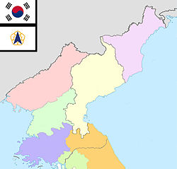 Map of North Korea with provincial divisions claimed by South Korea