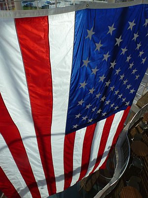 Flint Hills Discovery Center - Flag displayed at the Flint Hills Discovery Center in Manhattan, Kansas
