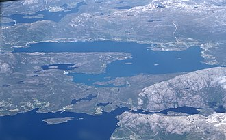 Eikefjord (village) - View of the village (right side of photo, along the shore)