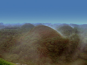 Chocolate Hills covered with fog