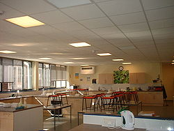 The Food Technology room at Marling School in Stroud, Gloucestershire.