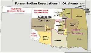 """Former Indian reservations in Oklahoma - """"Former Indian Reservations in Oklahoma"""" as originally defined by IRS Notice 98-45 issued in 1998, based on suzerain Indian territories that existed before Oklahoma statehood"""