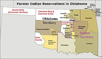 Cherokee Outlet - Oklahoma, the Cherokee Outlet, and Indian reservations established in the state and in the Cherokee Outlet.