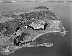 NORTHWEST OBLIQUE AERIAL VIEW OF FORT DELAWARE...