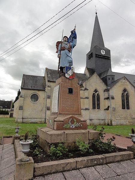 Fourdrain (Aisne) église de la Nativité-de-la -Sainte-Vierge, avec le monument aux morts