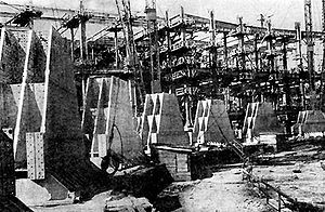 Palace of the Soviets - 1940. Foundation slab and frame