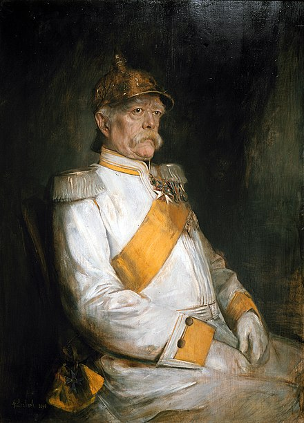 Franz von Lenbach's portrait of Bismarck in his 75th year. Franz von Lenbach - Portrait of Otto Eduard Leopold von Bismarck - Walters 371007 - View B.jpg