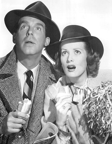 Fred MacMurray Maureen O'Hara Father was a fullback 1949.jpg