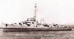 Port side view of Free French Destroyer Escort Algerien (F701).