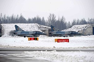 Two French Mirage 2000s during a Baltic Air Policing deployment in 2010