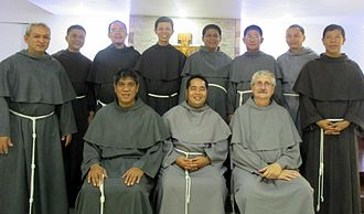 Conventual Franciscans in their variant grey habits Friars.jpg