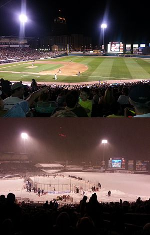 Frontier Field - Top: Summertime Red Wings Baseball, Bottom: Wintertime RIT Tigers men's ice hockey during the 2013 Frozen Frontier event