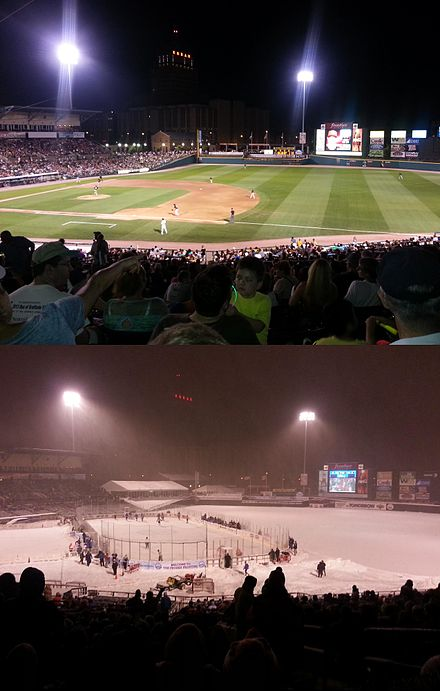 Top: Summertime Red Wings Baseball, Bottom: Wintertime RIT Tigers men's ice hockey during the 2013 Frozen Frontier event Frontier Field Summer Winter.jpg