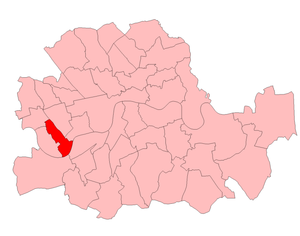 Fulham East (UK Parliament constituency) - Fulham East in the County of London, boundaries 1950-55