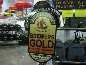 Champion Beer of Britain - Pump clip for Crouch Vale Brewers Gold at the 2008 Great British Beer Festival, advertising it was the Supreme Champion in both 2005 and 2006.