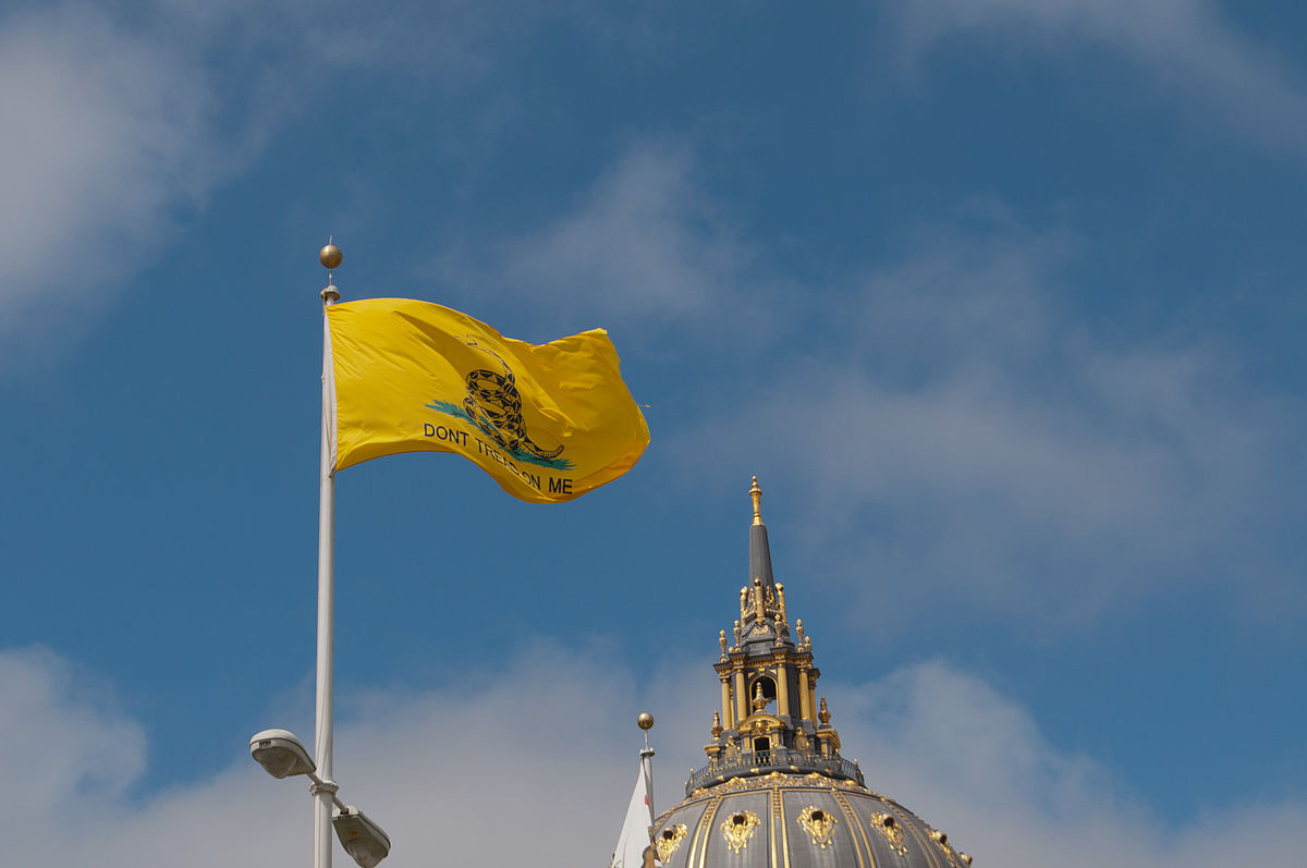 Gadsden Flag, Civic Center Plaza, San Francisco (6000548743).jpg