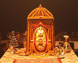 "Dashashwamedh Ghat -  Idol of ""Ganga Maata"" (Goddess Ganges) at Dashashwamedh Ghat."