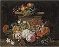 Gaspar Peeter Verbruggen (II) - A swag of flowers in a niche, with pears and grapes on a plinth.jpg