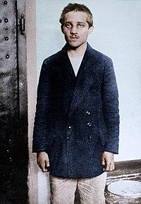 Gavrilo Princip in his prison cell at the Terezín fortress, 1914 (27324412597).jpg