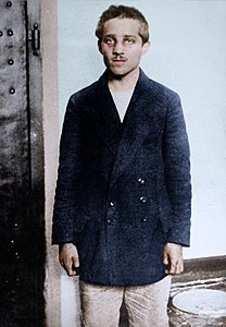 Gavrilo Princip in his prison cell at the Terezín fortress, 1914 (27324412597).jpg