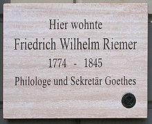 Gedenktafel am Haus Amalienstr 2 in Weimar (Quelle: Wikimedia)