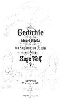 Mörike-Lieder von Hugo Wolf, Originalausgabe aus der Sammlung Fritz Kauffmann (Quelle: Wikimedia)