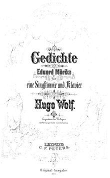 53 Lieder für eine Singstimme und Klavier als vertonte Gedichte von Eduard Mörike, Originalausgabe aus der Sammlung Fritz Kauffmann (Quelle: Wikimedia)