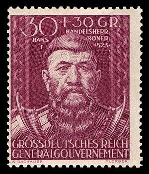 Jan Boner - Hans Boner on a stamp from 1944