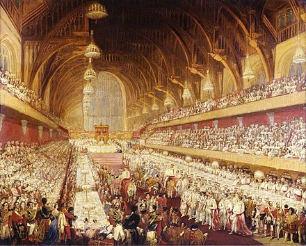 George IV's coronation banquet was held in Westminster Hall in 1821; it was the last such banquet held. George IV coronation banquet.jpg