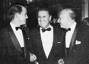 George Stevens Jr. - L-R: George Stevens Jr., his father George Stevens, and composer Dimitri Tiomkin at premiere of the Giant (1956 film)